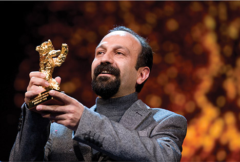 Asghar Farhadi with the Golden Bear for Nader and Simin, A Separation, courtesy Richard Hübner/Berlinale