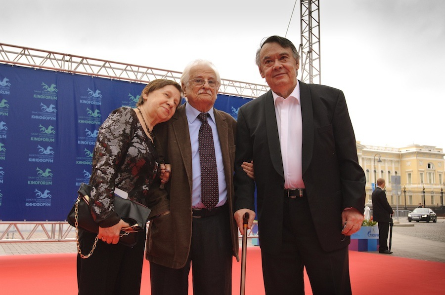 In photo: Alexey German Sr. and his wife with Marlen Khutsiyev (middle) on the Kinoforum's red carpet, courtesy Kinoforum